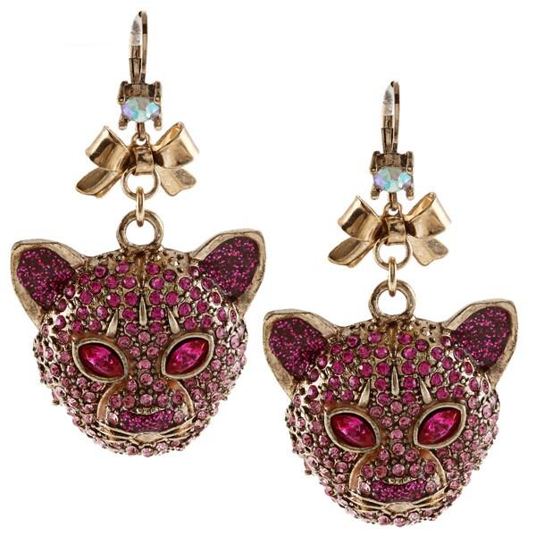 Betsey Johnson Tiger Euro Drop Dangle Earrings