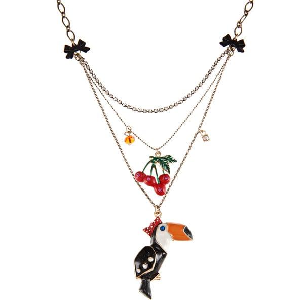 Betsey Johnson 3-row Toucan Pendant Necklace