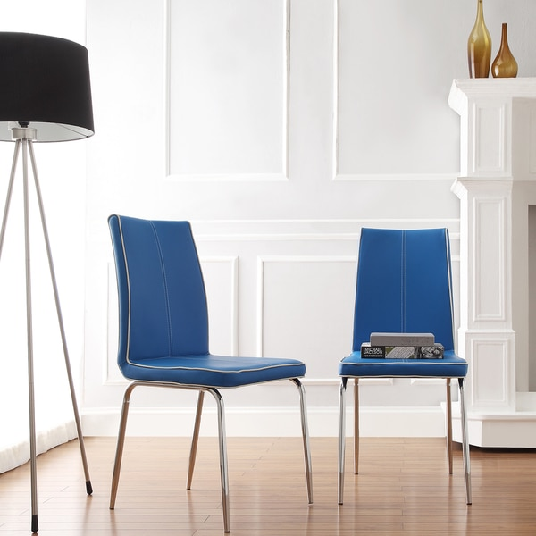 MID-CENTURY LIVING Matilda Blue Retro Modern Dining Chair (Set of 2)