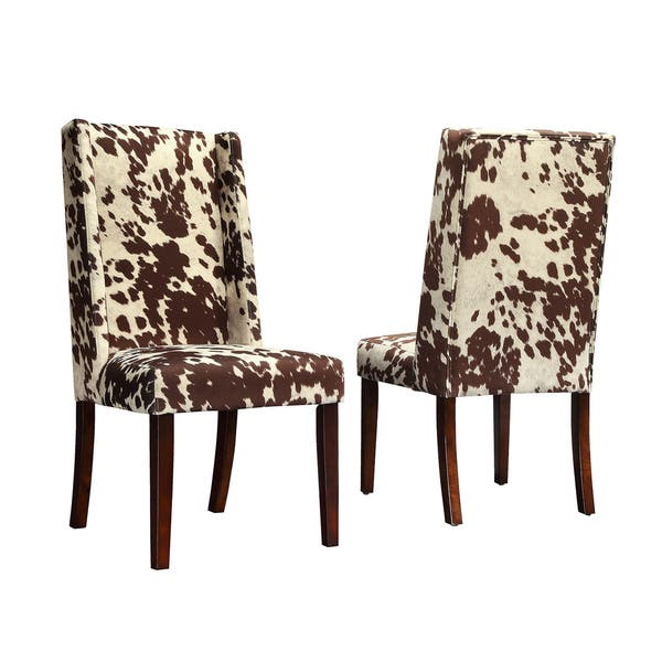 Peachy Shop Tribecca Home Ian Brown Cow Hide Wingback Dining Chair Bralicious Painted Fabric Chair Ideas Braliciousco