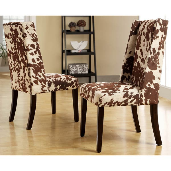 Stupendous Shop Tribecca Home Ian Brown Cow Hide Wingback Dining Chair Bralicious Painted Fabric Chair Ideas Braliciousco