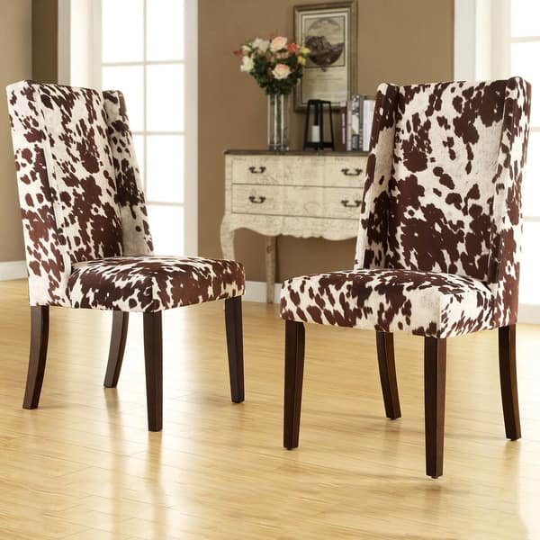 Admirable Shop Tribecca Home Ian Brown Cow Hide Wingback Dining Chair Bralicious Painted Fabric Chair Ideas Braliciousco