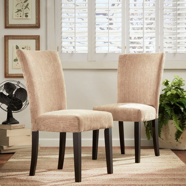 TRIBECCA HOME Camel Chenille Parson Chairs (Set of 2)
