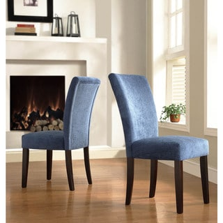 TRIBECCA HOME Royal Blue Chenille Parson Chairs (Set of 2)
