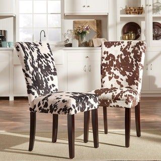 Portman Cow Hide Parson Dining Chairs by TRIBECCA HOME (Set of 2)