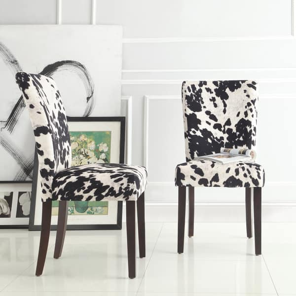 Peachy Shop Portman Cow Hide Parson Dining Chairs Set Of 2 By Bralicious Painted Fabric Chair Ideas Braliciousco