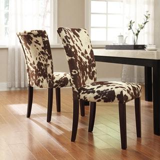 TRIBECCA HOME Portman Cow Hide Parson Side Chairs (Set of 2)