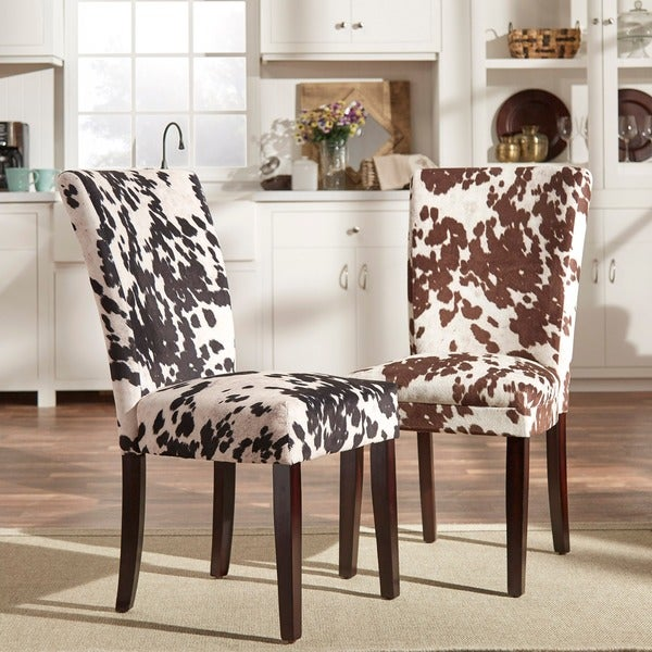 Portman Cow Hide Parson Side Chairs by TRIBECCA HOME (Set of 2)