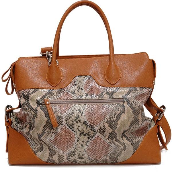 Dasein Two-Tone Lock Accent Front Python Embossed Shoulder Handbag
