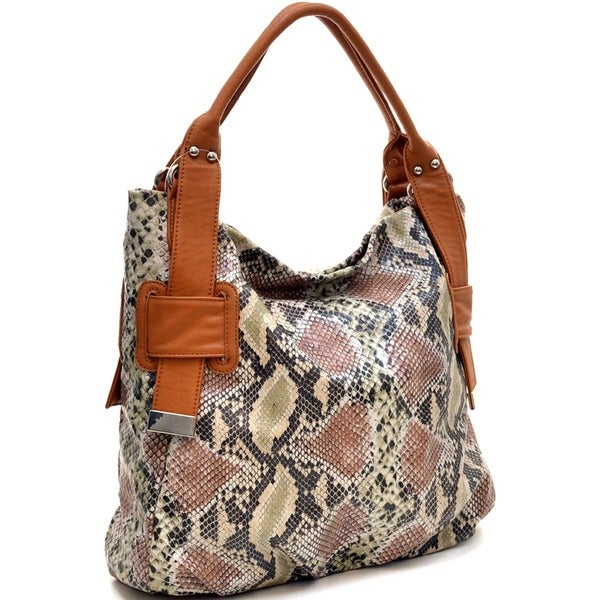 Shop Dasein Two-Tone Python Embossed Tote Bag - On Sale - Free ... a487869b08f90