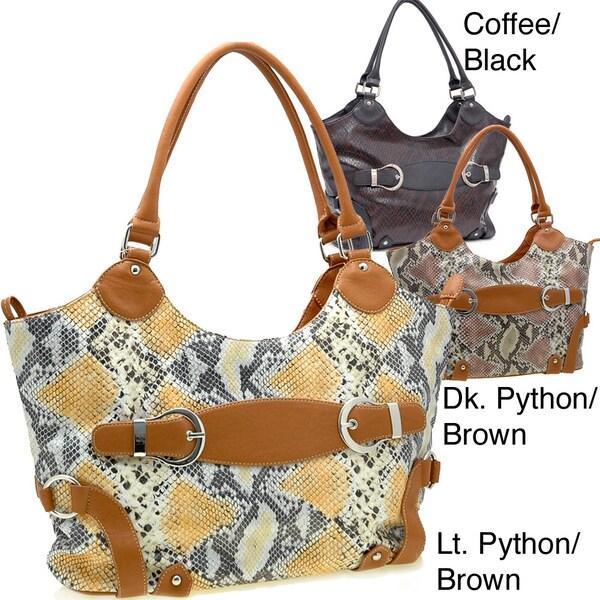 Dasein Python Embossed Belts Accented Handbag