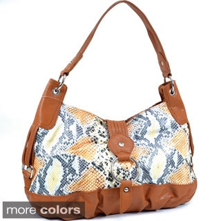 Dasein Two-Tone Python Embossed Flap Over Front Hobo Bag (2 options available)