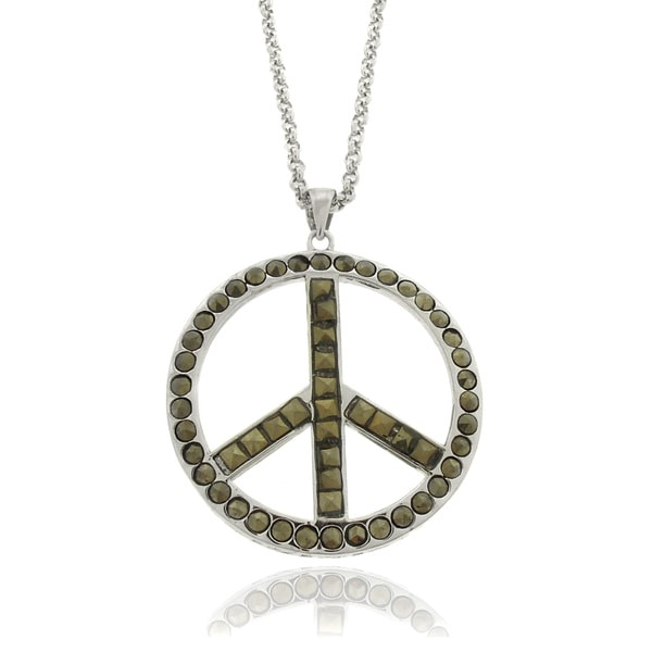 Dolce Giavonna Silverplated Marcasite Peace Symbol Necklace