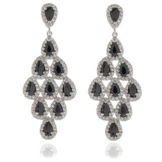 Dolce Giavonna Silvertone Black and White Cubic Zirconia Chandelier Earrings