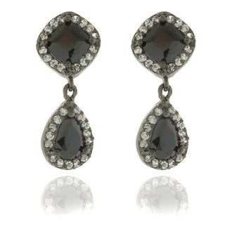 Dolce Giavonna Black and White Cubic Zirconia Dangle Earrings