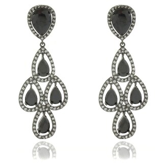 Dolce Giavonna Silver Overlay Black and White Cubic Zirconia Dangle Chandelier Earrings