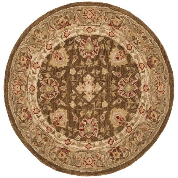 Safavieh Handmade Anatolia Oriental Brown/ Sage Green Hand-spun Wool Rug