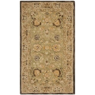 Safavieh Handmade Anatolia Oriental Oushak Sage Green/ Beige Hand-spun Wool Rug