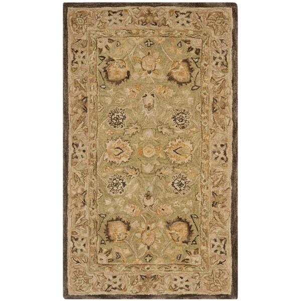 Safavieh Handmade Anatolia Sage/ Beige Hand-spun Wool Rug