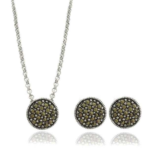 Dolce Giavonna Silverplated Marcasite Circle Necklace and Earring Jewelry Set