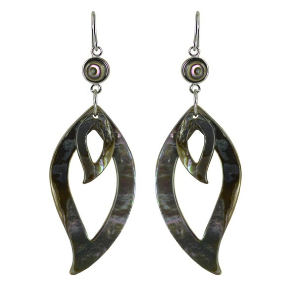 Pearls For You Sterling Silver Abalone Leaf-shaped Dangle Earrings