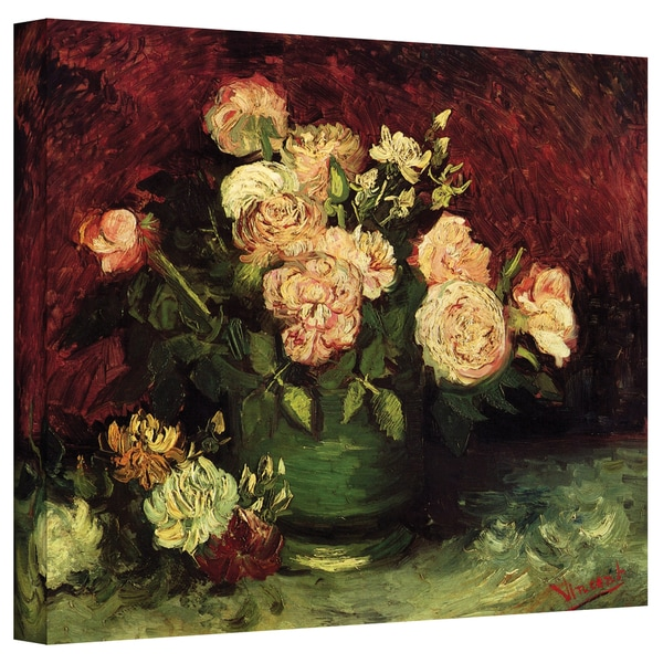 VanGogh 'Peonies and Roses' Wrapped Canvas