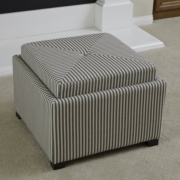 Andrea Dark Coffee Stripe Fabric Tray Top Storage Ottoman by Christopher Knight Home