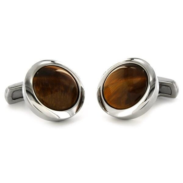 West Coast Jewelry Stainless Steel Tiger's Eye Inlay Cuff Links