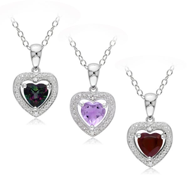 M by Miadora Sterling Silver Gemstone and Diamond Heart Necklace (H-I,I2-I3)