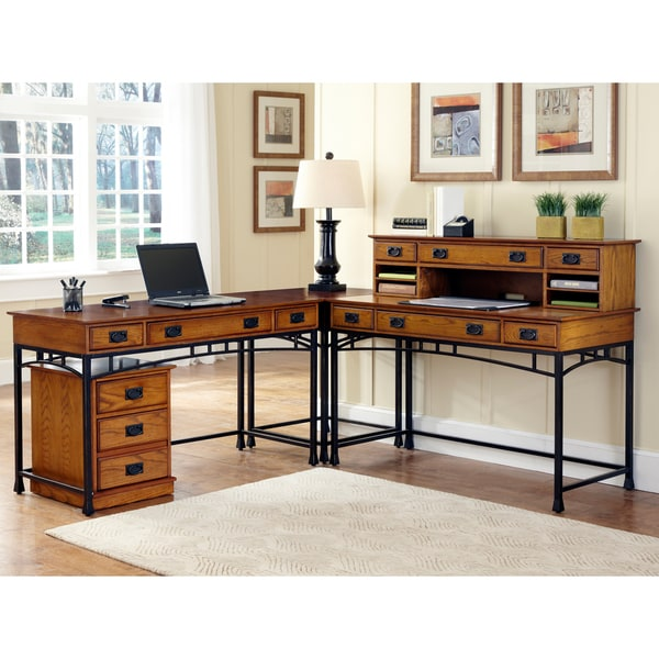 Modern Craftsman Corner 'L' Desk/ Mobile File by Home Styles