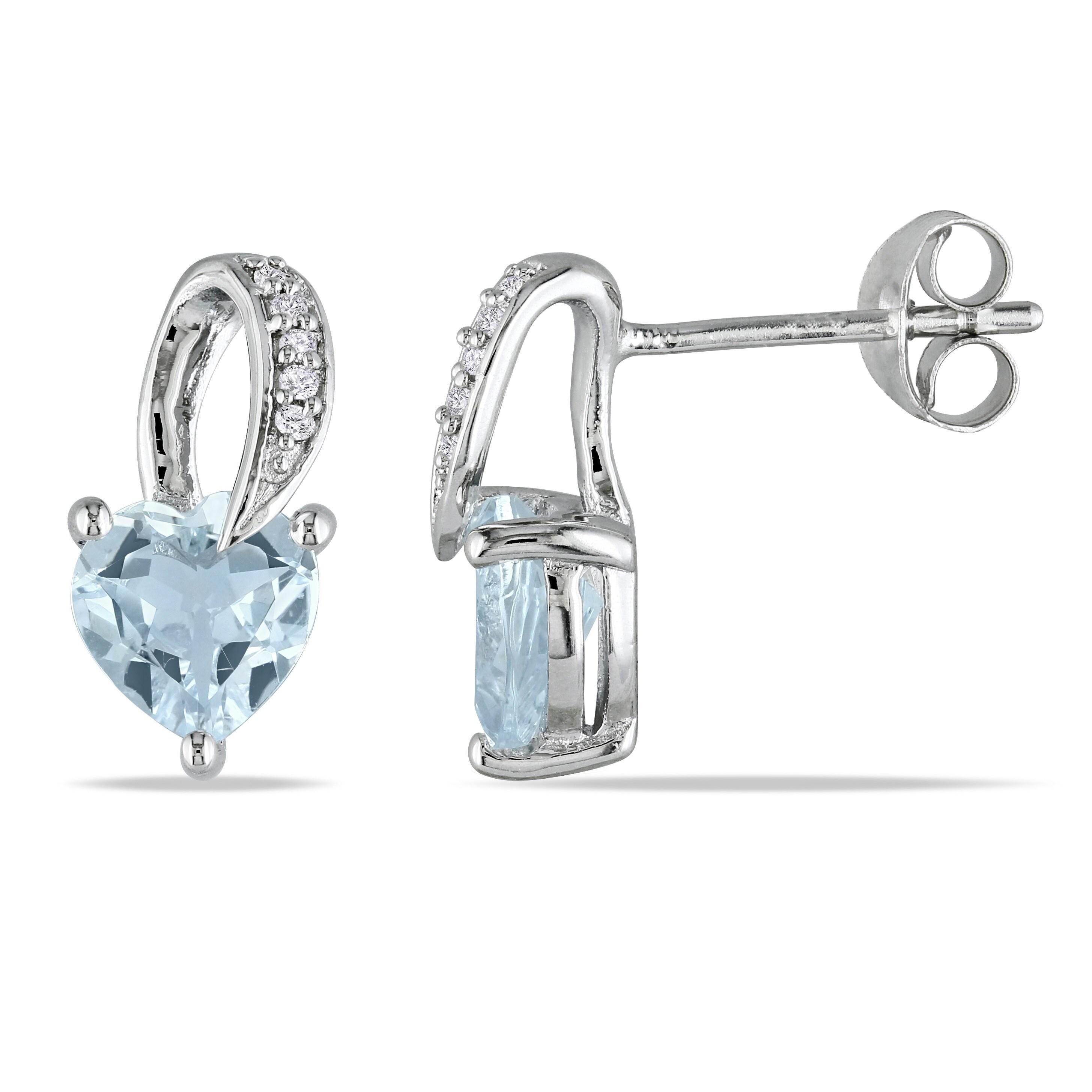 Sterling Silver Diamond And 1 1//3 CT Aquamarine Heart Love Stud Earrings I2;I3