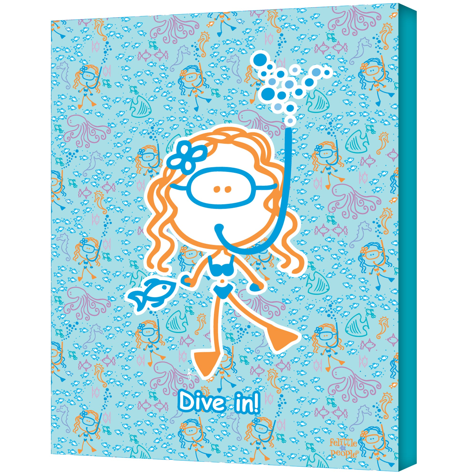 FeLittle People 'Swim - Dive In Girl' Wrapped Canvas