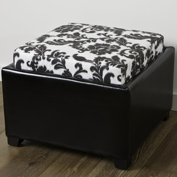 Wellington Floral Leather and Fabric Tray Top Ottoman by Christopher Knight Home