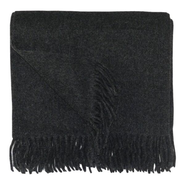 Bocasa Anthracite Woven Wool Blanket Throw