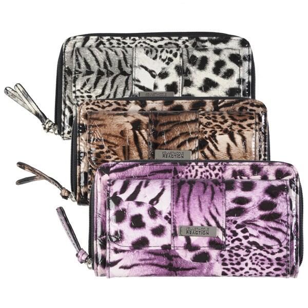 Kenneth Cole Reaction Women's Animal Print Zipper Clutch Wallet