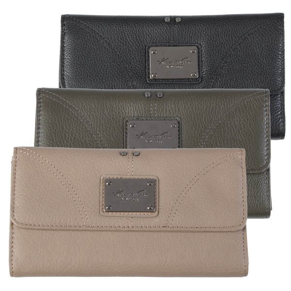 Kenneth Cole Women's Flapover Genuine Leather Clutch Wallet