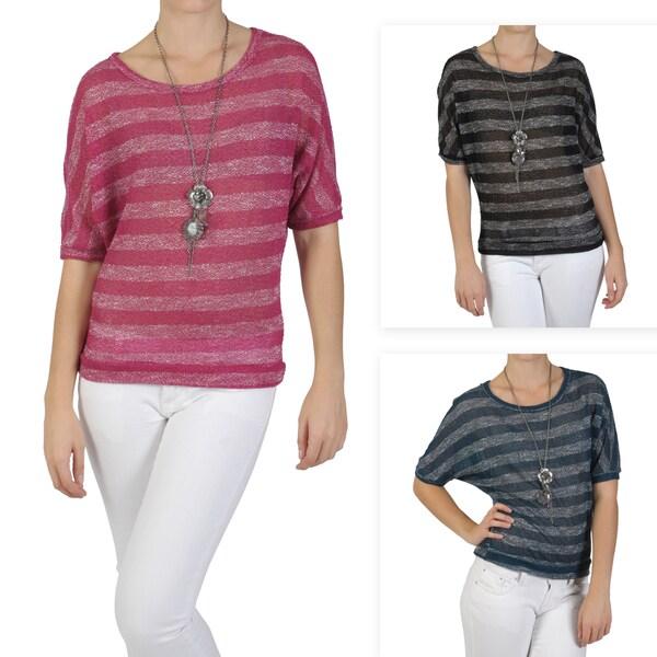 Journee Collection Juniors Scoop Neck Dolman Sleeve Sweater Top