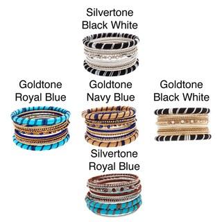 NEXTE Jewelry Brass 12-Piece Silk Stackable Bangle Bracelet Set (5 options available)