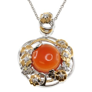 Michael Valitutti Orange Chalcedony Pendant Necklace
