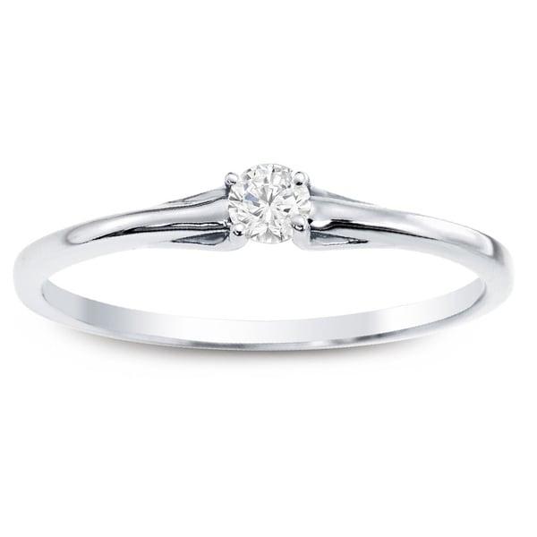 Auriya 10k White Gold 1/10ct TDW Promise Diamond Ring (J-K, I1-I2)