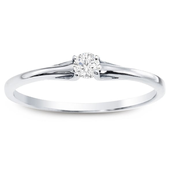Auriya 10k Gold 1/10ct TDW Diamond Simple Solitaire Stackable Promise Ring
