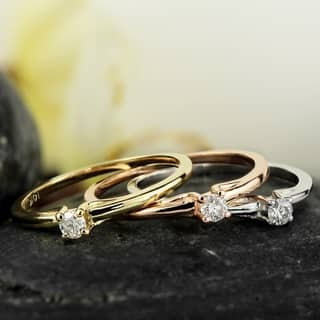 10K Gold 1/10ct TDW Petite Solitaire Diamond Stacking Promise Ring by Auriya