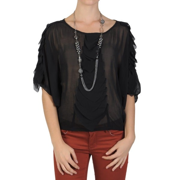 Journee Collection Juniors Scoop Neck Dolman Sleeve Top
