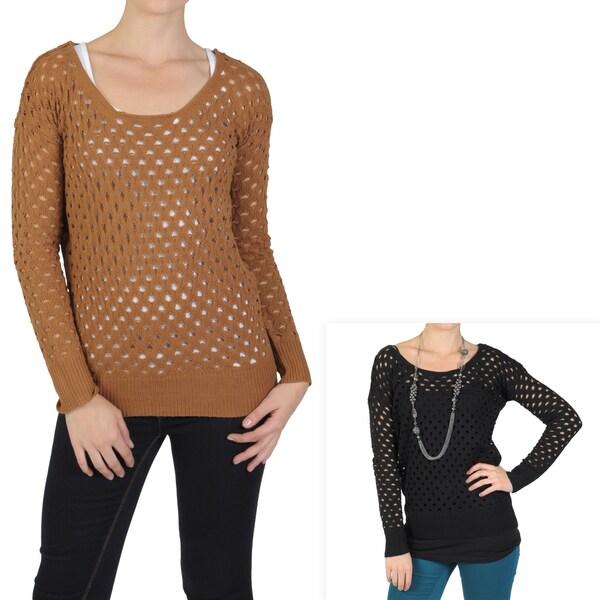T by Hailey Jeans Co. Women's Long Sleeve Scoop Neck Sweater