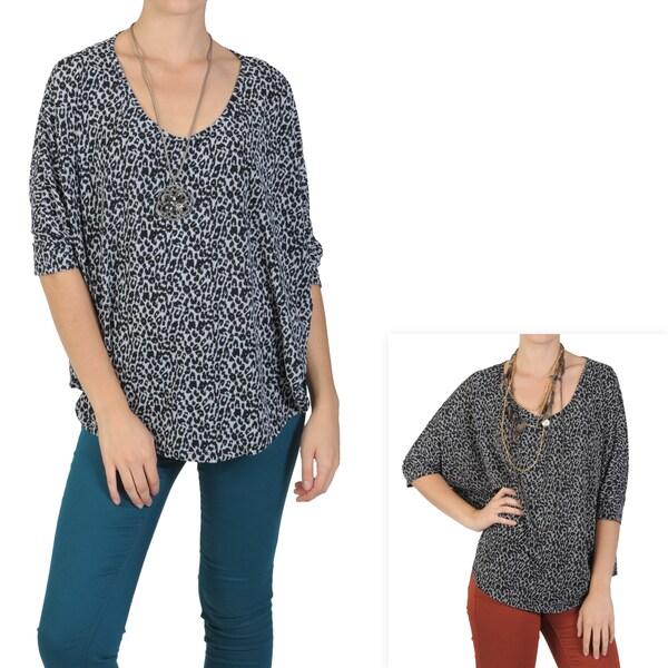 Tressa Designs Women's Contemporary Plus Stretch Scoop-Neck Leopard-Print Top