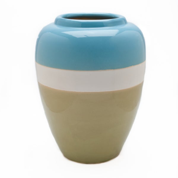 Large Striped Blue White Aqua Vase