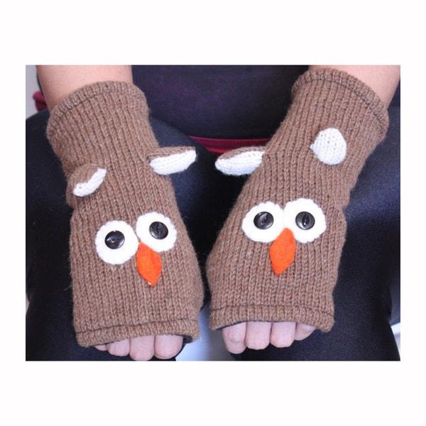 Owl Wool Arm Warmers (Nepal)