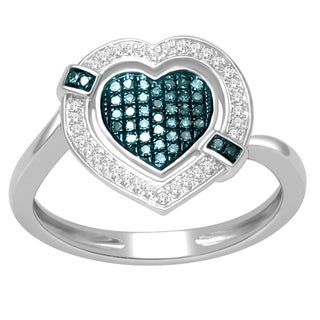 De Couer Silver 1/5ct TDW Blue and White Diamond Heart Cocktail Ring