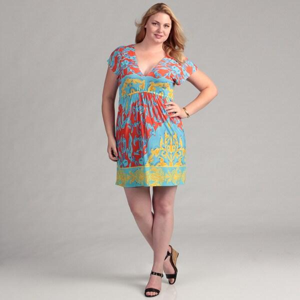 White Mark Women's Plus 'Milano' Turquoise Dress