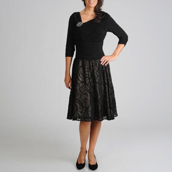 S.L. Fahions Women's Black Flocked Party Dress